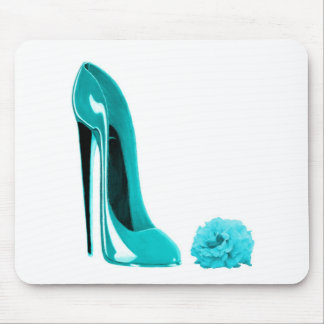 Turquoise Stiletto Shoe and Rose Mouse Pad