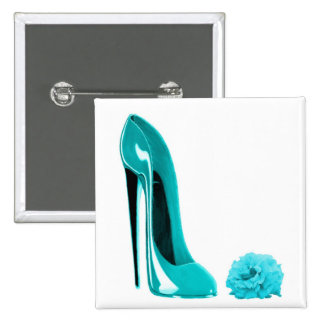 Turquoise Stiletto Shoe and Rose Pinback Button