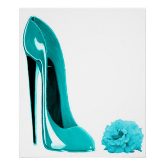 Turquoise Stiletto Shoe and Rose Print