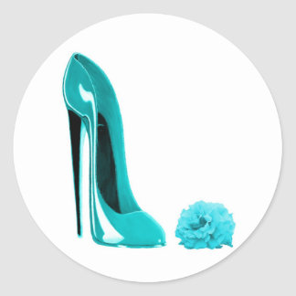 Turquoise Stiletto Shoe and Rose Sticker