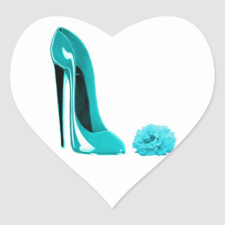 Turquoise Stiletto Shoe and Rose Heart Stickers