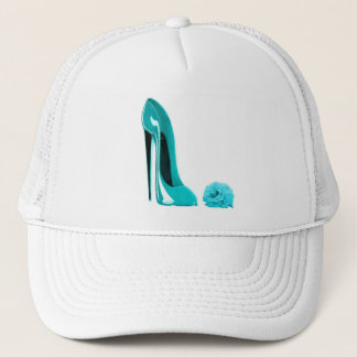 Turquoise Stiletto Shoe and Rose Trucker Hat