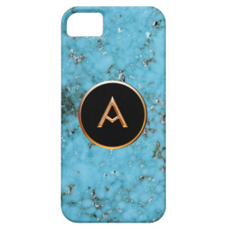 Turquoise Stone, Gold and Black Bahnhof A Monogram iPhone SE/5/5s Case