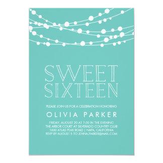 Turquoise String Lights Sweet Sixteen Invitation