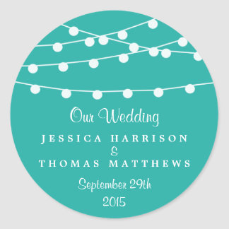 Turquoise String Lights Wedding Favor Classic Round Sticker