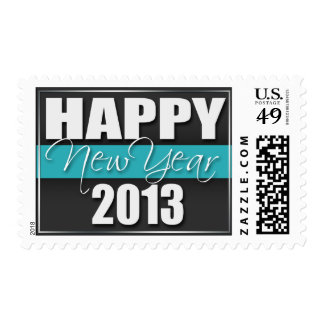Turquoise Stripe Happy New Year 2013 Postage