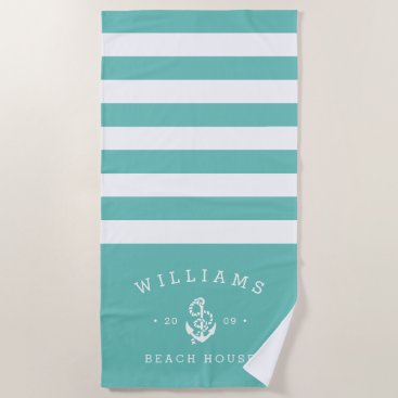 Beach Themed Turquoise Stripe Personalized Beach House Beach Towel
