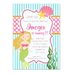 Turquoise Stripe, Pink Polka Dot Blonde Mermaid 5x7 Paper Invitation Card