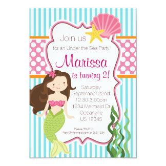 Turquoise Stripe, Pink Polka Dot Brunette Mermaid 5x7 Paper Invitation Card
