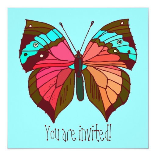 Turquoise Striped Butterfly Invitation