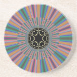 Turquoise Striped Sunburst Fractal Coaster