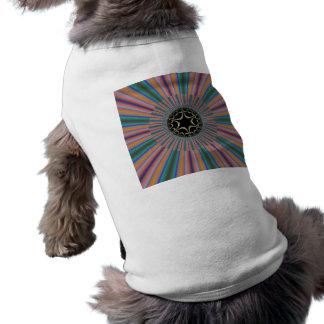 Turquoise Striped Sunburst Fractal Dog Clothing