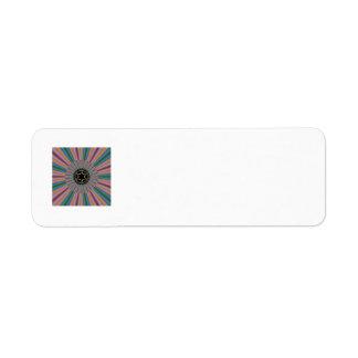 Turquoise Striped Sunburst Fractal Label