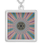 Turquoise Striped Sunburst Fractal Necklace
