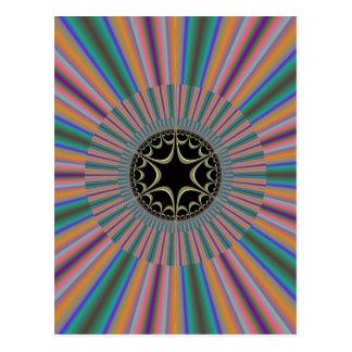 Turquoise Striped Sunburst Fractal Postcard