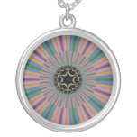 Turquoise Striped Sunburst Fractal Round Pendant Necklace