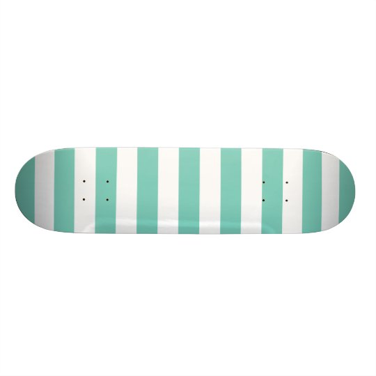 Turquoise Stripes Pattern Skateboard Deck