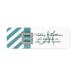 Turquoise Stripes, Ribbon Monogram for Weddings Label