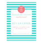 Turquoise Stripes - Save the Date Postcards