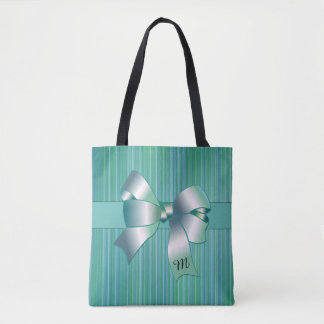 Turquoise Stripes with Bow Tote Bag