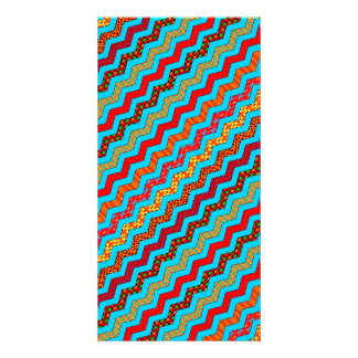 Turquoise Stripes Zig Zag Geometric Designs Color Card