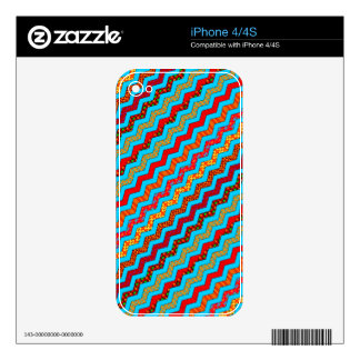 Turquoise Stripes Zig Zag Geometric Designs Color Decals For iPhone 4S