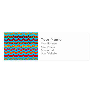 Turquoise Stripes Zig Zag Geometric Designs Color Double-Sided Mini Business Cards (Pack Of 20)