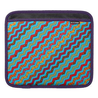 Turquoise Stripes Zig Zag Geometric Designs Color iPad Sleeves