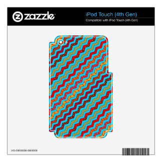 Turquoise Stripes Zig Zag Geometric Designs Color Skin For iPod Touch 4G