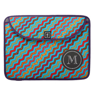 Turquoise Stripes Zig Zag Geometric Designs Color Sleeve For MacBook Pro