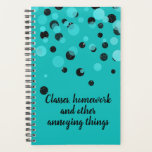 "Turquoise Student School Daily Planner<br><div class=""desc"">Students turquoise daily planner with graphic black and aqua dots,  along the top half.  Black custom text reads Classes,  homework and other annoying things,  and can be personalized to read what you want.  Great for high school and college.</div>"
