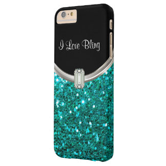 Turquoise Stylish Bling Barely There iPhone 6 Plus Case