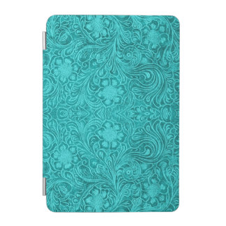 Turquoise Suede Leathe -Embossed Floral Design iPad Mini Cover