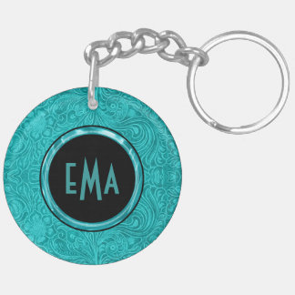 Turquoise Suede Leather Floral Design Double-Sided Round Acrylic Keychain