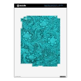 Turquoise Suede Leather Look Embossed  Flowers iPad 3 Skin