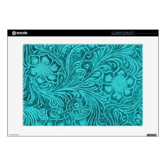 Turquoise Suede Leather Look Embossed  Flowers Laptop Skins