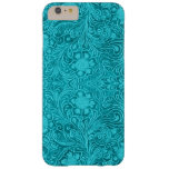 Turquoise Suede Leather Look Floral Design Barely There iPhone 6 Plus Case