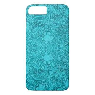 Turquoise Suede Leather Look Floral Design iPhone 8 Plus/7 Plus Case
