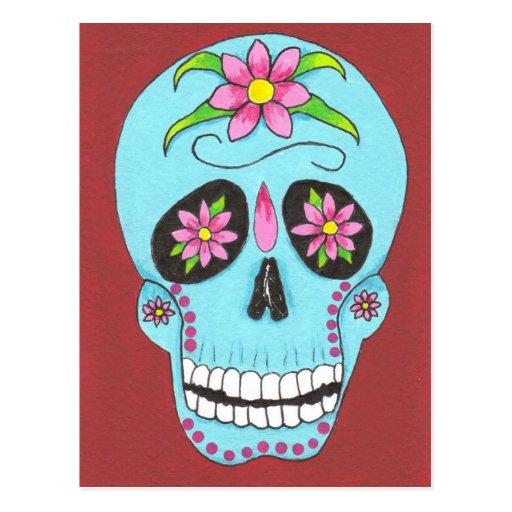 Turquoise Sugar Skull Postcard