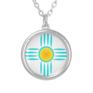 Turquoise Sun God Silver Plated Necklace