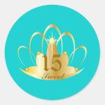 Turquoise Sweet 15 Tiara Sticker-Customize
