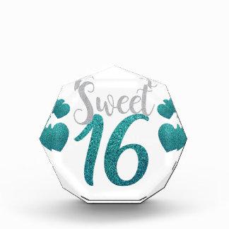 Turquoise Sweet Sixteen Hearts Award