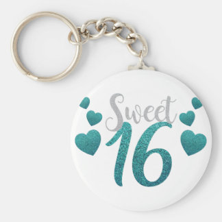 Turquoise Sweet Sixteen Hearts Keychain