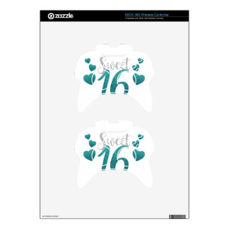 Turquoise Sweet Sixteen Hearts Xbox 360 Controller Decal