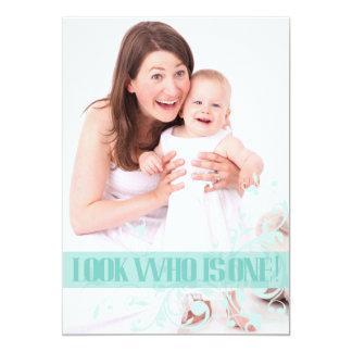 Turquoise Swirl Baby's First Birthday Invitation