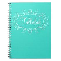 Turquoise Swirl Frame Personalized Custom Notebook