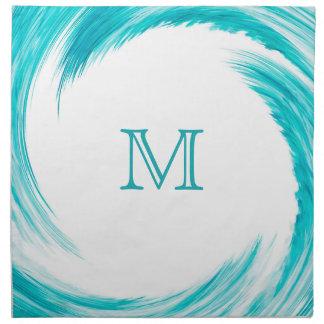 Turquoise Swirl Modern Abstract Monogram Cloth Napkin