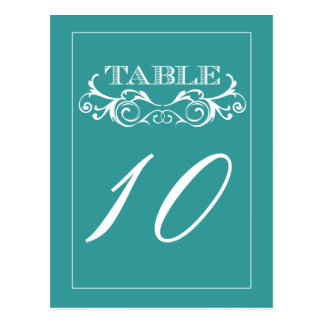 Turquoise Swirl Vintage Wedding Table Number Cards