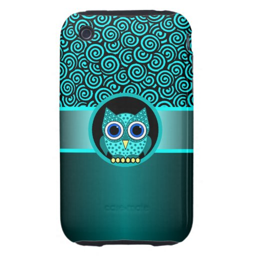 turquoise swirls pattern with owl tough iPhone 3 cases