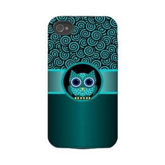 turquoise swirls pattern with owl casematecase